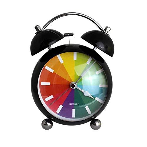 Houlian shop Studenten Bedside Bedroom Curved Metal 4.5 inch Creative Mute Night Light Moda eenvoudige Rainbow dubbele bel Alarm Clock