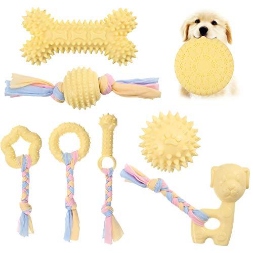 Veraing Puppy Chew Toys - Juguete para masticar para perros, juego de juguetes para la dentición de perros con pelota y cuerdas de algodón, juguete interactivo para masticar (8 unidades)