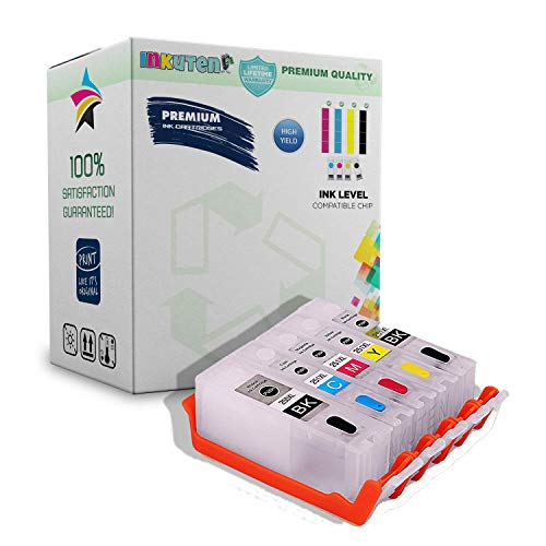 INKUTEN Premium Refillable Ink Cartridges for CLI-251 PGI-250 (5 Pack) with Smart Chips Resets Ink Level to Full MG6420 MG6620 MG5420 MG5422 MG5520 MG5620 IP7220 MX922 MX722
