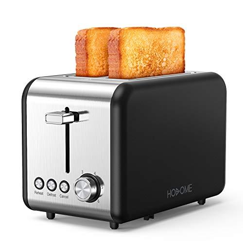 Hosome Toaster, Edelstahl Toaster 2 Scheibe, 850W Toster mit 2 extra breiten Schlitzen, 6 Bräunungseinstellungen, Funktion zum Auftauen/Aufwärmen/Abbrechen, für verschiedene Brote