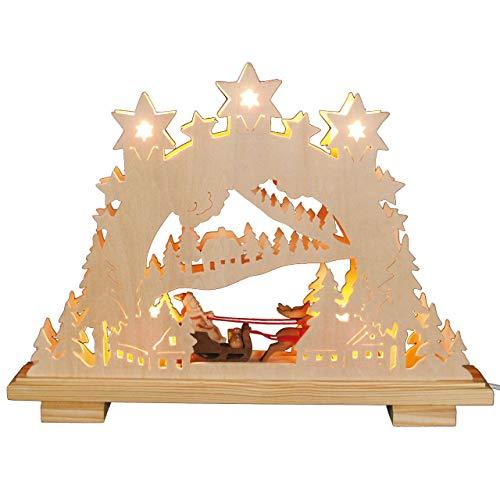 OBC Schwibbogen doppelt, elektrische Beleuchtung/Weihnachtsmann mit Rentierschlitten Natur/Lichterbogen Erzgebirge Stil, handgefertigt/Deko zu Weihnachten