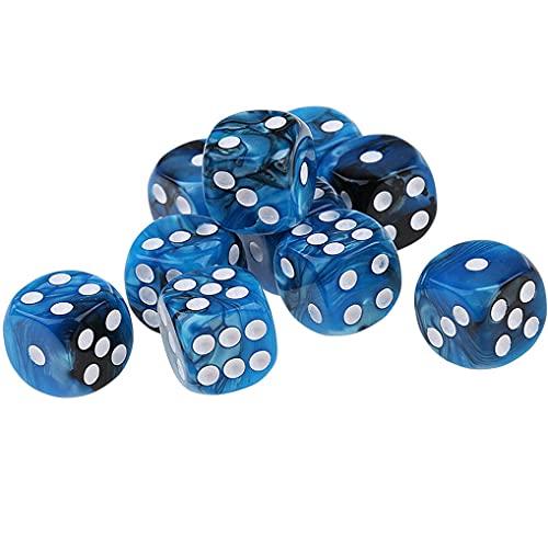 Yourandoll 10 pièces dés polyédriques D6 dés 16mm de Jeux de dés en Acrylique pour DND Dice RPG MTG Jeux (Bleu Noir)