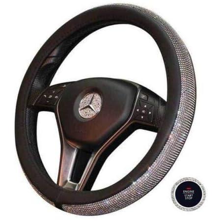 L/&U 3pcs Cristallo Bling Caps Logo Volante per Le coperture Mercedes Benz W205 W212 W213 C117 C E S CLA GLA GLK Classe Badge Emblem Bling Decalcomanie,45mm