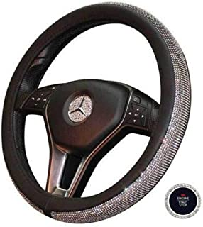 BLVD-LPF OBEY YOUR LUXURY Crystal Steering Wheel Cover, PU Leather Bling Bling Rhinestone, Black Universal 15-inch Cystal Bling Ring for Auto Start Engine Ignition Button Key