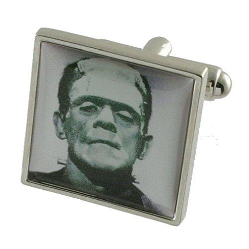 Monster Frankenstein Design lourde solide Argent sterling 925 Boutons de manchette + cadeau personnalisé Message Boîte à boutons de manchette