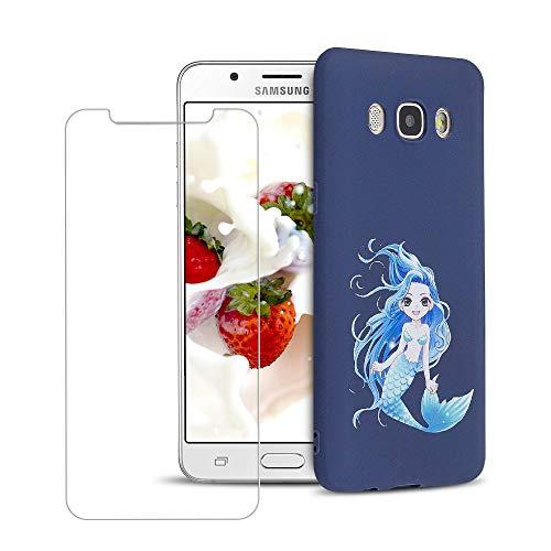 SpiritSun ES Funda para Samsung Galaxy J5 2016 + Protectores de Pantalla in Cristal Templado, TPU Soft Silicona Carcasa Case Suave Flexible Original Trasero Protector Case Cover - Sirena