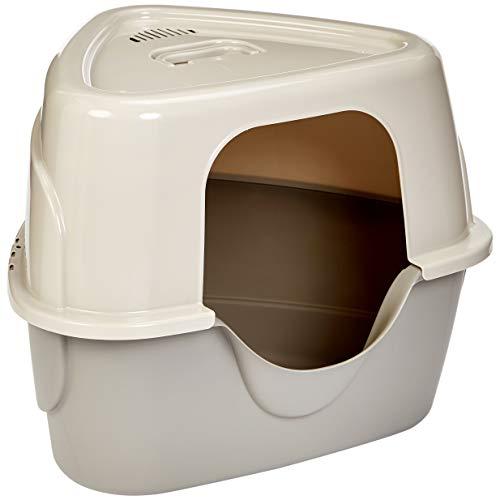 Amazon Basics No-Mess Hooded Corner Cat Litter Box, 26 x 20 x 23 Inches, Triangle