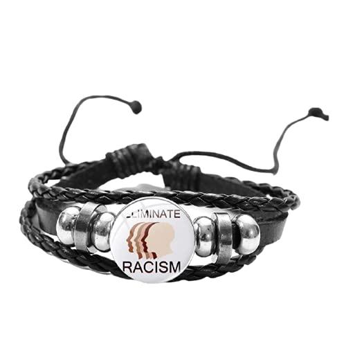 Detener el racismo cuerda cadena pulsera pulsera pulsera de dibujos animados impresión cristal Snap encanto pulsera de cuero anti racismo joyería para regalo