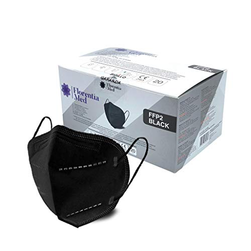 Florentia Med Black FFP2-Masken MADE IN ITALY CE-zertifizierte Kategorie PSA: III, gemäß EN 149: 2001 + A1: 2009. Schachtel mit 20 Stück