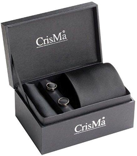 Krawatte Manschettenknöpfe Seideneinstecktuch Geschenkset mit Koffer Schatulle Geschenkbox - 7029703-schwarz - Material: Seide