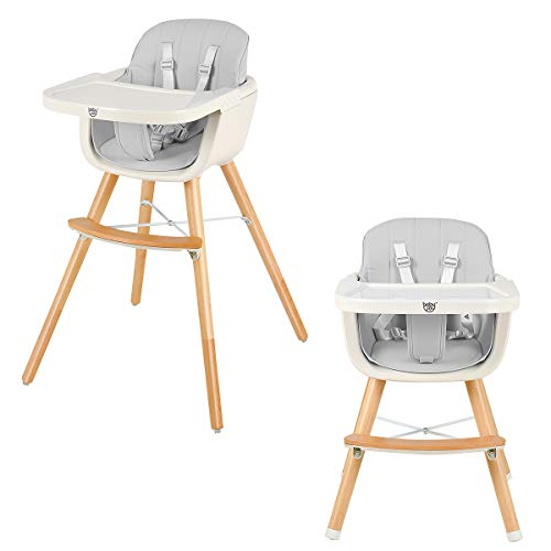 Find Discount BABY JOY Convertible Baby High Chair, 3 in 1 Wooden Highchair/Booster/Chair with Remov...