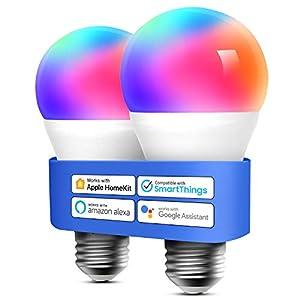 Meross Bombilla LED Multicolor, Inteligente, WiFi, Regulable, Mando a distancia, 60 W, Equivalente a E27, 2700-6500 K, Compatible con Apple HomeKit, Alexa Echo y Google Home. Paquete de 2.