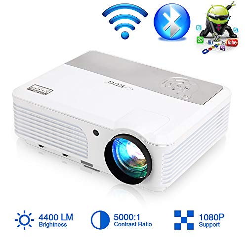 Wireless Wifi Projector Bluetooth HDMI Zoom LED 4400 Lumens Smart LCD Android Video Projector HD Wxga Support 1080P HDMI USB VGA AV Audio for Phones Laptops TV DVD PS4 Games Home Theater Outdoor Movie