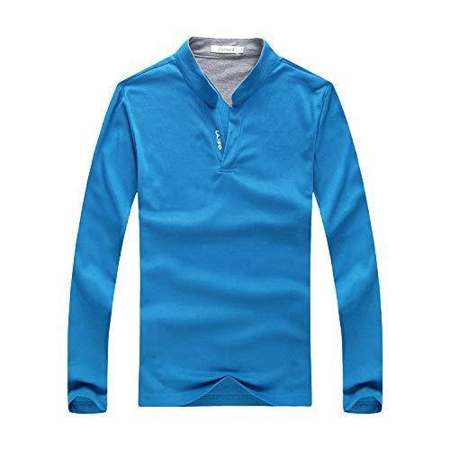 U/A Herren-T-Shirt, Stehkragen, langärmelig, einfarbig Gr. 56, blau