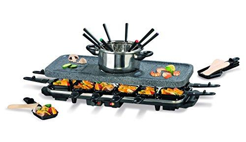 Raclette mit Fondue Set | Antihaftbeschichtung & Steinplatte zum Grillen und Braten | 12 Raclette-Pfannen | 8 Fondue-Gabeln | 1.600 Watt