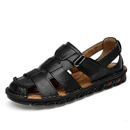 XYAL0003001 Xingyue Aile Hausschuhe & Sandalen Herrenmode Casual Sandalen, Anti-Kollision Toe Convenien Haken & Loop Strap Outdoor Freizeit Wasser Schuhe (Farbe : Schwarz, Größe : 38 EU)