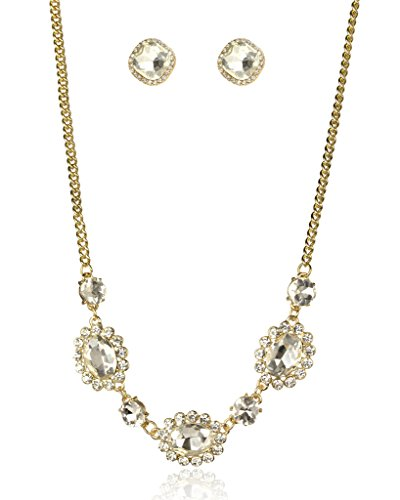 Lux Accessories Goldtone Crystal Triple Stone Necklace Earrings Gift...
