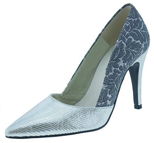 Heine 164212 high Heel Pumps grau Silber, Groesse:41.0