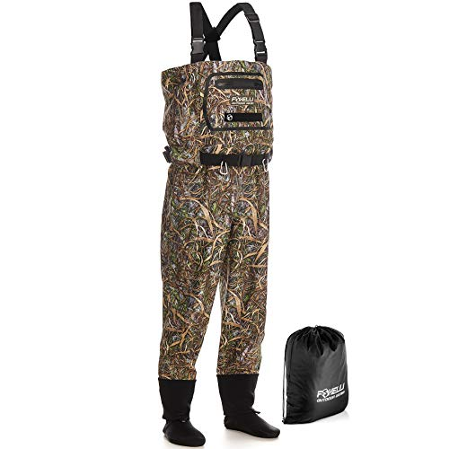 Foxelli Breathable Chest Waders – Camo Fly Fishing Waders for Men, Stockingfoot Breathable Waders - Use for Fly Fishing, Duck Hunting, Emergency Flooding – 100% Waterproof & Lightweight