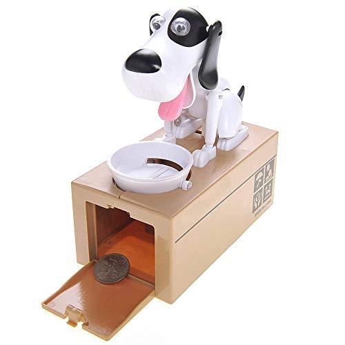 Justup Hungriger Hund Spardose, Welpen-Sparschwein, Münze Kaut Spardose, Geburtstagsgeschenk für Kinder (Weiß)