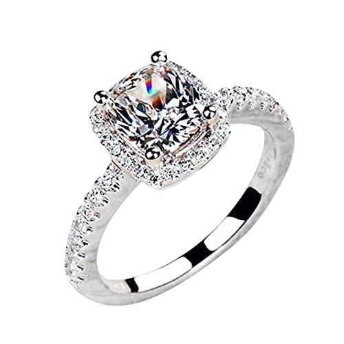 minjiSF Anillo completo de diamante para mujer cuadrado con diamantes tallados, anillo de compromiso, alianzas, anillo de boda, anillo de temperamento, anillos de año (gris E, 5)