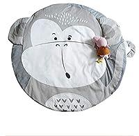 キッズプレイマット ベビーマット おしゃれ 円形 遊びマット ベビークロールマット 柔らかい 綿 毛布レース パッド 超ソフト 四季兼用 水洗い可能 取り外し可能 厚手 赤ちゃん ギフト 約直径90cm