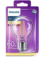 Philips LED Classic 60W A60 Filament Ampul, 2700 Sarı Işık, E27 Normal Duy, Dim Edilmez