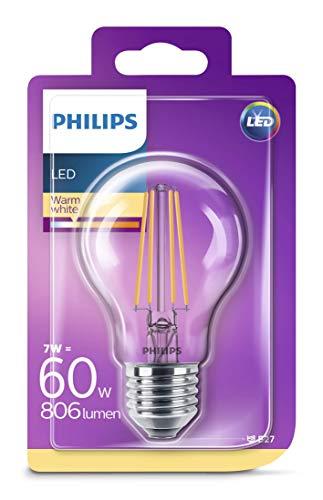 Philips Lighting LEDFIL60CL Classic Goccia Lampadine LED, Attacco E27, 7 W Equivalenti a 60 W, 2700 K, Luce Bianca Calda