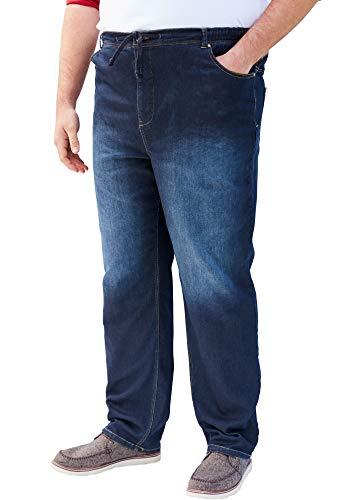 KingSize Men's Big & Tall 5-Pocket Relaxed Fit Denim Sweatpants - Tall - 4XL, Dark Rinse Jeans