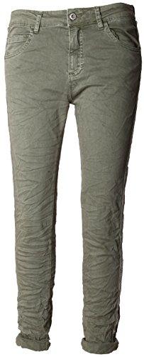 Basic.de Damen-Hose Skinny mit Kontraststreifen aus Metall-Perlen Melly & CO 8166 Khaki S