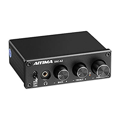 AIYIMA DAC-A2 DC5V Mini USB Powered DAC Audio Decoder Desktop Headphone Amplifier AMP PC-USB/Coaxial/Optical to RCA Headphone Output 24Bits 192KHz Digital-to-Analog Converter from AIYIMA TECH