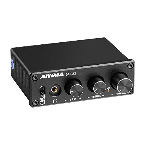 AIYIMA DAC-A2 DC5V Mini Decodificatore audio DAC alimentato USB Amplificatori per cuffie desktop PC-USB/Coassiale/Ottico a RCA Uscita per cuffie Convertitore digitale-analogico a 24 bit 192 KHz
