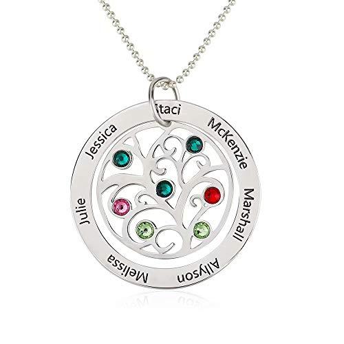 Runde Namenskette Familie lebensbaum mit Gravur 1 bis 7 Namen und Geburtsstein für Mütter Mama Oma Frauen in 925 Sterling Silber Rose Gold