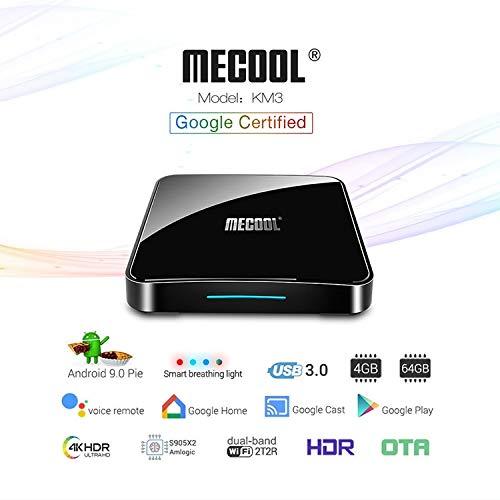 MECOOL KM3 Android 9.0 TV Box Quad Core 4GB+64GB WiFi HDMI TF Card 4K Ultra HD