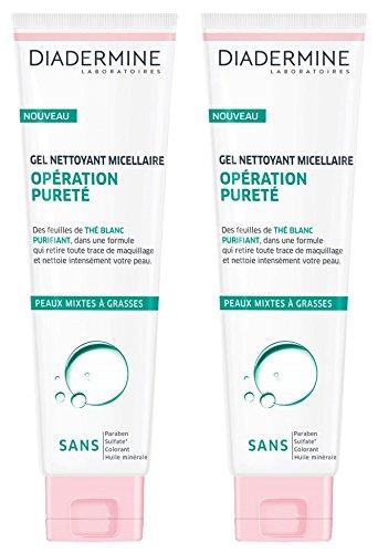Diadermine - Gel Micellaire Visage - Opération Pureté Peaux Mixtes - Purifiant - Thé blanc - 150 ml - Lot de 2