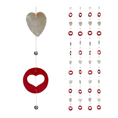 Relaxdays Capiz Girlande 4er Set, für Fenster, Balkon, Tür, Muschelplättchen Vorhang, Dekoketten 180 cm, Herz, weiß-rot, 4 Stück