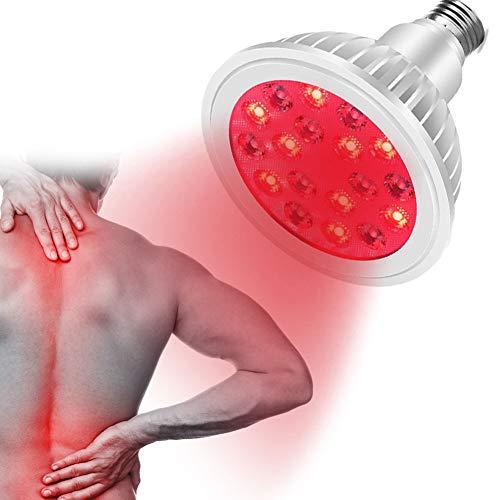 EFGSbed Rotlichtlampe, 24W Rote Light Beauty Licht, 18 LED Rote Bulb Massage, 660 Nm Und 850 Nm, Für Anti-Aging, Bleaching, Muskel- Und Gelenkschmerzen, Weihnachten Geschenk,Light Bulb