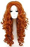 Yuehong Long Curly Orange Wig Anime Wigs Halloween Costume Party Heat Resistant Cosplay Hair Wigs