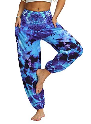 Asvivid Pantalones de harén hippy, de cintura alta, para mujer, con teñido anudado, holgados, para deporte, yoga, para correr