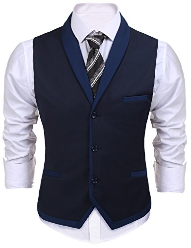 Burlady Herren V-Ausschnitt Ärmellose Westen Slim Fit Weste Anzug Business Anzugweste (EU 50(Hersteller:M), A-Dunkel Blau)