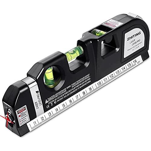 ZHITING Nivel Láser-Medición láser multifuncional, Láser nivelador y regla de medición, para múltiples usos,(Cinta Métrica 2,5m / 8ft, Regla metalica 15cm/ 6 Pulgadas)