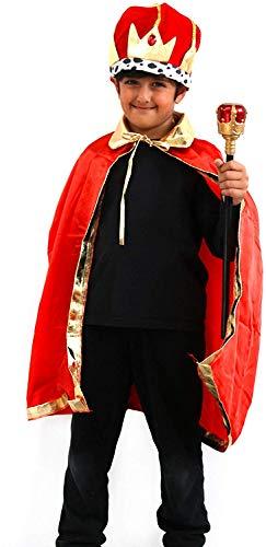 por Robelli 3 Piezas de Accesorios para Disfraz de Rey para niños – Corona, Capa y cetro