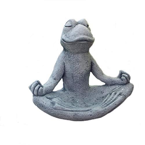 Steinfigur Yoga Frosch klein Vogelbad Tierfigur Vogeltränke Steinguss Frostfrei