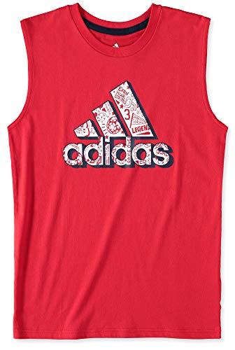 adidas Camiseta sin mangas para niño (niños grandes), 10-12, Rojo/Blanco/Negro