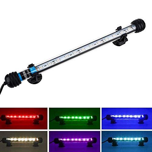 NICREW RGB Leuchte LED Aquarium Beleuchtung, Aquarium Tauchlampen 3W 28cm Unterwasser Kristallglas Leuchten, LED Aquarium Licht Lampe geeignet für Salzwasser und Süßwasser