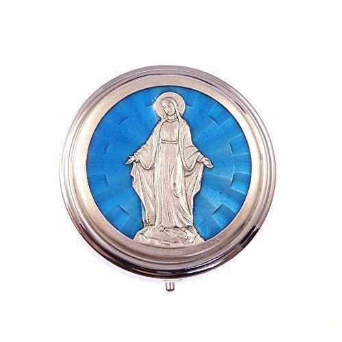 Plateado metálico pyx azul Milagroso Virgen María Eucaristía Comunión oblea Católica 6cm