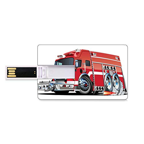 4 GB USB-Flash-Thumb-Laufwerke Autos Bank Kreditkarte Form Business Key U Disk Memory Stick Speicher Big Fire Truck mit Notfallausrüstung Universal Safety Rescue Team Motor Cartoon,Rot Silber, Persona