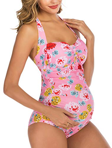 Maternity Swimwear Retro One Piece Halter Pregnancy Swimsuit Floral Printing Bathing Suit with Adjustable Chest Drawstring Pink XL