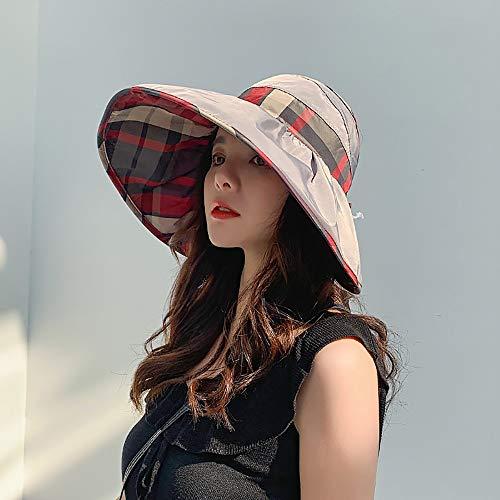 BFVSNGT Verano de Las señoras del Sombrero de Sun, Plegable Rizado Enrejado del Pescador Sombrero, Big Sun del Borde del Sombrero (Color : F)