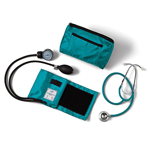 Medline MDS9117 Compli-Mates Aneroid Sphygmomanometer and Dual Head Stethoscope Kit, Carrying Case, Adult Blood Pressure Cuff, Manual, Professional, Teal